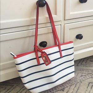 ALDO nautical tote bag. Red white and blue purse